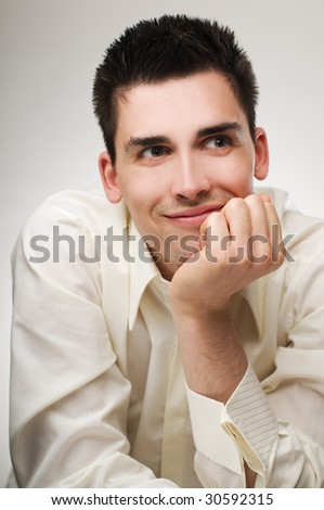 Young happy business men close up shoot - stock photo
