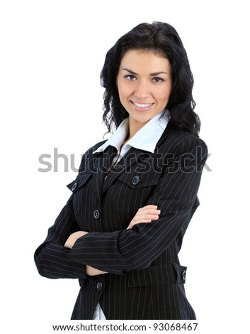 Young happy business woman isolated over a white background - stock photo