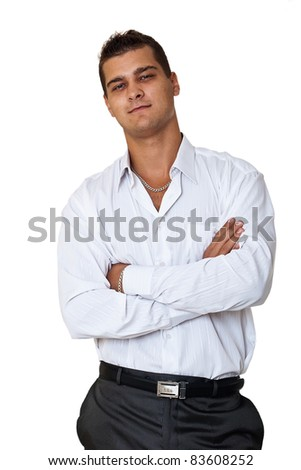 Young happy businessman on white background - stock photo