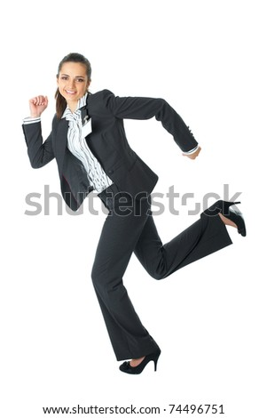 young happy businesswoman in a rush, run pose, isolated on white - stock photo