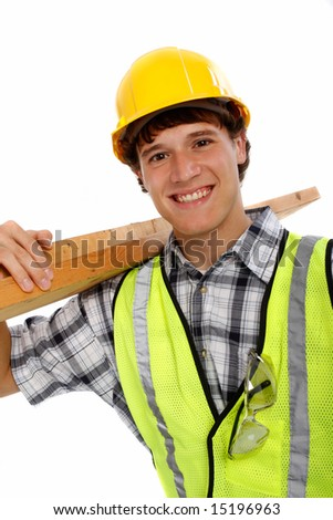 Young Happy Carpenter Holding Building Materials on Isolated Background - stock photo