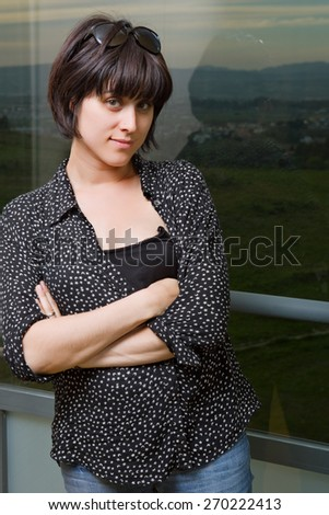 young happy casual beautiful woman at home - stock photo
