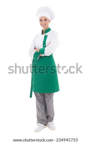 young happy chef woman in uniform - full length isolated on white background - stock photo
