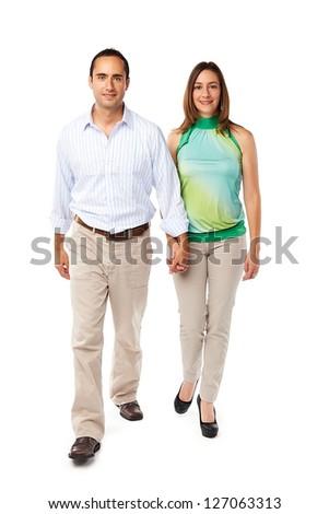 Young happy couple walking - stock photo