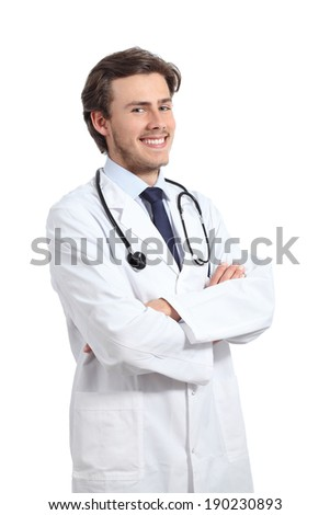 Young happy doctor man posing with folded arms smiling confident isolated on a white background                - stock photo