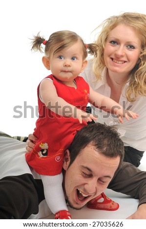 young happy family with beautiful baby isolated on white - stock photo