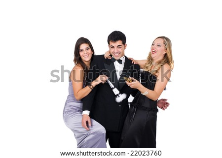 Young happy friends celebrating new year - stock photo