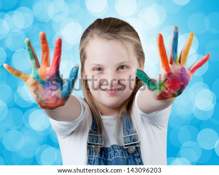 young happy girl. Hand Painted Child. - stock photo