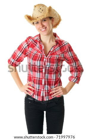 young happy girl in straw hat and red shirt, studio shoot isolated on white - stock photo