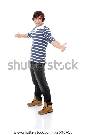 Young happy handsome man,isolated on a white background - stock photo