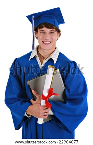 Young Happy Healthy Looking Male College Student Holding Graduation Certificate, Laptop Smiling - stock photo