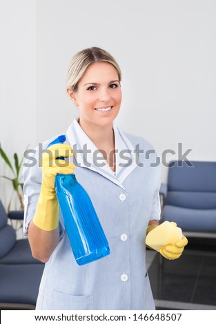 Young Happy Maid Holding Bottle And Sponge - stock photo