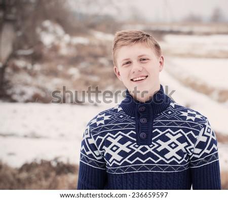 young happy men outdoor - stock photo