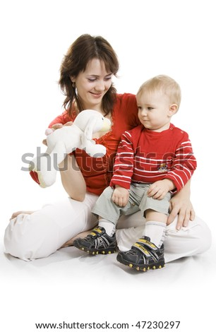 Young happy Mother and its Son isolated on white. - stock photo