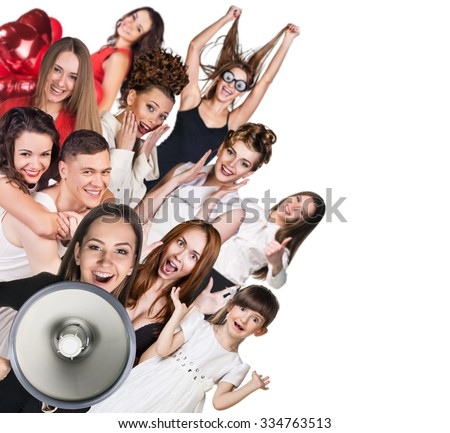 Young happy people and woman with loudspeaker isolated on the white - stock photo