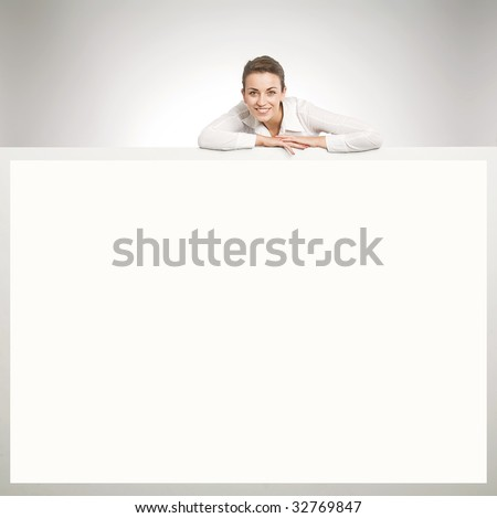 Young happy secretary over white board - stock photo