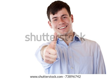 Young happy smiling handsome man shows thumb up. Isolated on white background. - stock photo