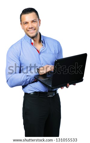 Young happy smiling man with notebook - stock photo