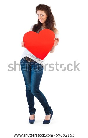 Young happy smiling woman with heart symbol, isolated - stock photo
