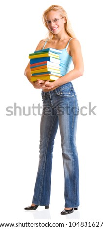 Young happy smiling woman with textbooks, isolated over white background - stock photo