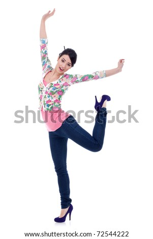 Young happy stretching woman. Isolated on white. - stock photo