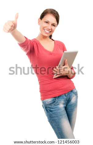 Young happy student girl with tablet pc - stock photo