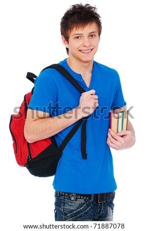 young happy student holding bag and books - stock photo