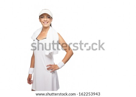 Young Happy Tanned Caucasian Sportswoman in Professional Tennis Outfit with Towel. Isolated On White Background. Horizontal Image with Copyspace - stock photo
