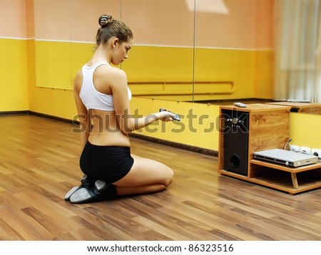 Young happy woman doing fitness - stock photo