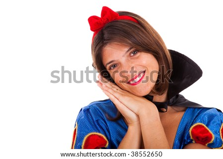 young happy woman dressed with a fantasy outfit (isolated on white) - stock photo