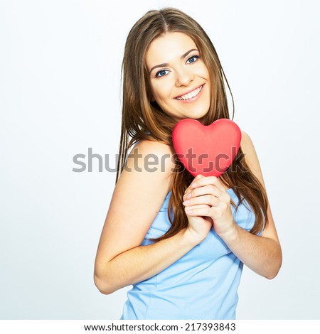 young happy woman hold heart . valentine day concept . - stock photo