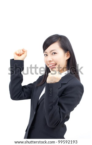young happy woman isolated on white background. - stock photo