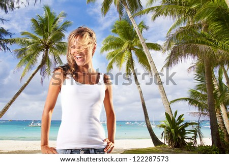 young happy woman on palm trees sea background - stock photo