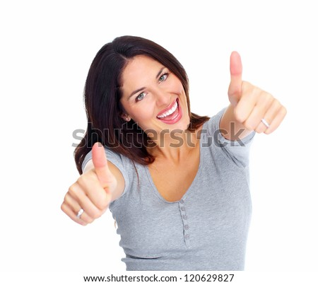 Young happy woman portrait. Success. Isolated over white background. - stock photo