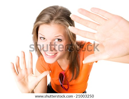 Young happy woman stretching hands to the camera. Isolated on white. - stock photo