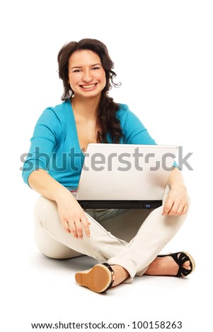 Young happy woman with a laptop , isolated on white background - stock photo