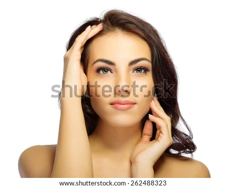 Young healthy girl portrait isolated - stock photo