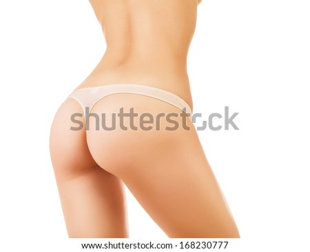 young healthy woman buttocks on white background - stock photo