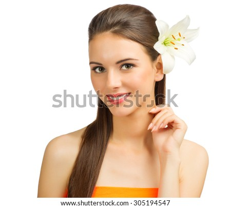 Young healthy woman with flower isolated - stock photo