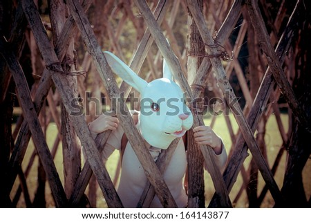 young hipster rabbit mask woman in the cage on autumn - stock photo