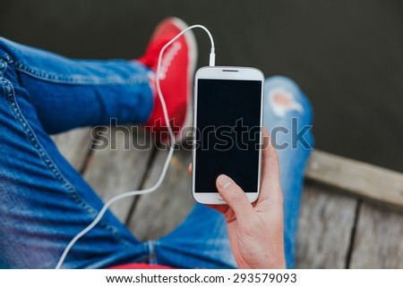 young hipster woman using smart phone  - stock photo