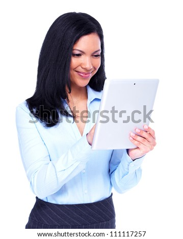 Young hispanic business woman with tablet computer. Isolated on white background. - stock photo