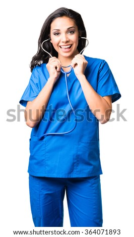 Young Hispanic doctor nurse in scrubs isolated on white background - stock photo
