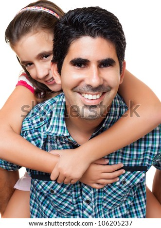 Young hispanic father playing with his beautiful daughter isolated on white - stock photo