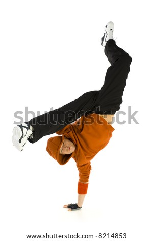 Young hooded bboy standing on one hand. Holding legs in air. Looking at camera. Isolated on white in studio. Front view, whole body - stock photo