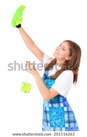 Young housewife cleaning, isolated on white background - stock photo