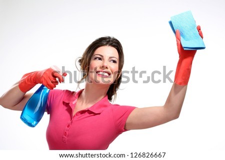 young housewife cleaning on white - stock photo