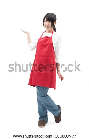 young housewife showing, isolated on white background - stock photo