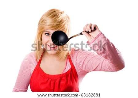 young housewife with soup ladle isolated on white background - stock photo