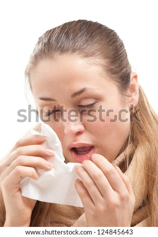 young  ill woman - stock photo